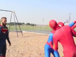 Gay Cosplay orgy feat:Spiderman,Iron Man Superman Hulk.