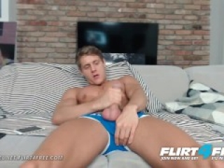 Perfect Ripped Model Stroking His Huge Cock