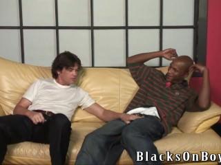 White dude gets fucked by black guy bareback