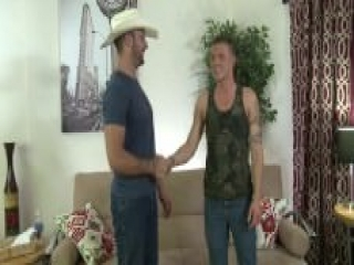 Str8 rodeo cowboy's first time gay sex.